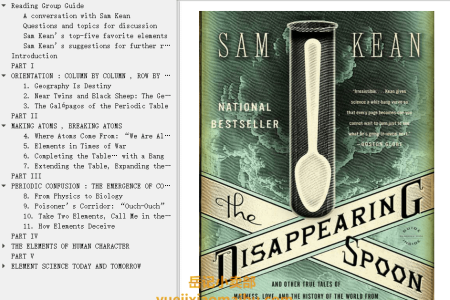 【配音频】The Disappearing Spoon: And Other True Tales of Madness, Love, and the History of the World from the Periodic Table of the Elements by Sam Kean(mobi,epub,pdf)