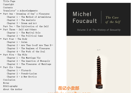 【电子书】The History of Sexuality Vol 3: The Care of the Self (The History of Sexuality #3) by Michel Foucault(mobi,epub,pdf)