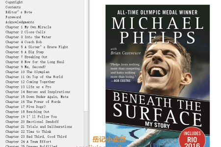 【配音频】Beneath the Surface: My Story by Michael Phelps(mobi,epub,pdf)