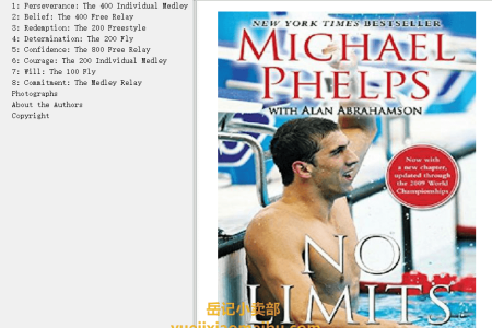 【配音频】No Limits: The Will to Succeed by Michael Phelps, Alan Abrahamson(mobi,epub,pdf)