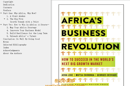 【电子书】Africa's Business Revolution: How to Succeed in the World's Next Big Growth Market by Acha Leke, Musta Chironga, George Desvaux(mobi,epub,pdf)