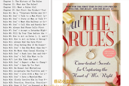 【电子书】All the Rules: Time-Tested Secrets for Capturing the Heart of Mr. Right (The Rules) by Ellen Fein, Sherrie Schneider(mobi,epub,pdf)