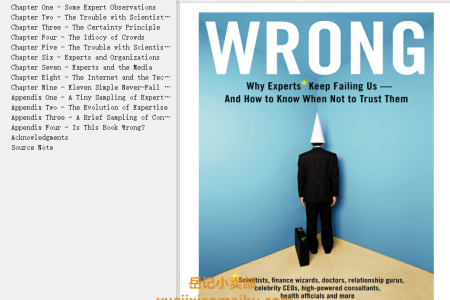 【配音频】Wrong: Why Experts Keep Failing Us and How to Know When Not to Trust Them by David H. Freedman(mobi,epub,pdf)