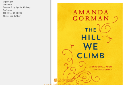 【电子书】The Hill We Climb: An Inaugural Poem for the Country by Amanda Gorman(mobi,epub,pdf)