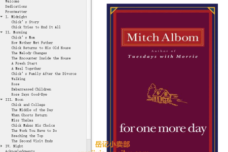 【配音频】For One More Day by Mitch Albom(mobi,epub,pdf)