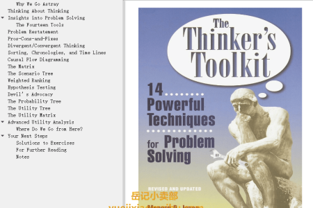 【电子书】The Thinker's Toolkit: 14 Powerful Techniques for Problem Solving by Morgan D. Jones(mobi,epub,pdf)