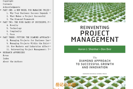 【电子书】Reinventing Project Management: The Diamond Approach To Successful Growth And Innovation by Aaron J. Shenhar, Dov Dvir(mobi,epub,pdf)