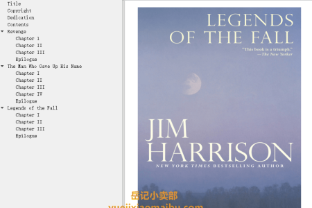 【配音频】Legends of the Fall by Jim Harrison(mobi,epub,pdf)