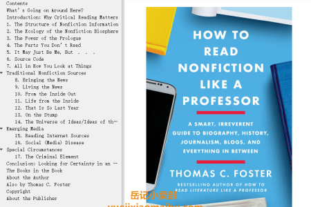 【配音频】How to Read Nonfiction Like a Professor: Critical Thinking in the Age of Bias, Contested Truth, and Disinformation by Thomas C. Foster(mobi,epub,pdf)