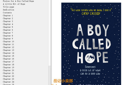 【配音频】A Boy Called Hope by Lara Williamson(mobi,epub,pdf)