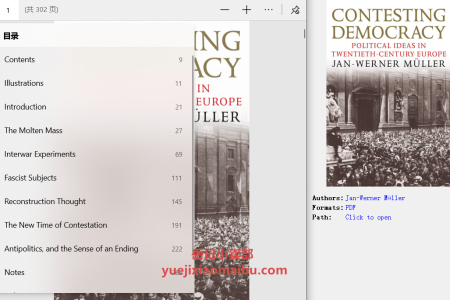 【电子书】Contesting Democracy: Political Ideas in Twentieth-Century Europe by Jan-Werner Müller(pdf)