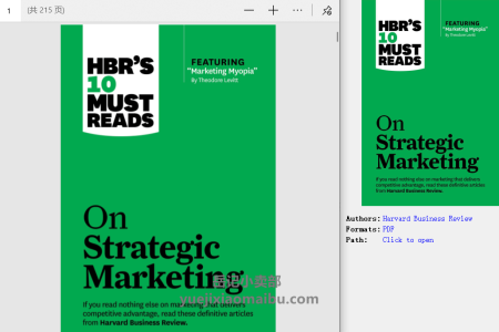 "【配音频】HBR's 10 Must Reads on Strategic Marketing (with featured article ""Marketing Myopia,"" by Theodore Levitt) by Harvard Business Review(pdf)"