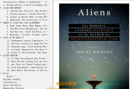 【配音频】Aliens: The World's Leading Scientists on the Search for Extraterrestrial Life by Jim Al-Khalili(mobi,epub,pdf)