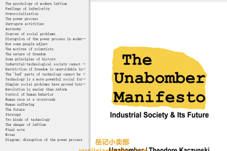 【电子书】The Unabomber Manifesto: Industrial Society and Its Future by Theodore J. Kaczynski(mobi,epub,pdf)