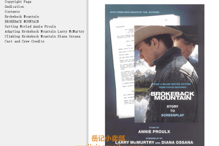 【配音频】Brokeback Mountain: Story to Screenplay by Annie Proulx, Larry McMurtry, Diana Ossana(mobi,epub,pdf)
