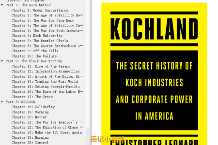 【配音频】Kochland: The Secret History of Koch Industries and Corporate Power in America by Christopher Leonard(mobi,epub,pdf)